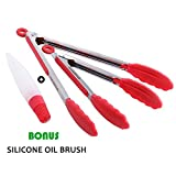 "Image of OTHERMAX Heat Resistant Silicone Kitchen Tongs Set (9"" & 12""),Stainless Steel Cooking Tongs with Silicone Tips for BBQ, Salads,Grilling,Serving and Fish Turning - Bonus Silicone Oil Brush"