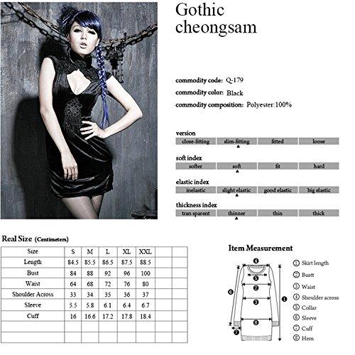 en Gr rmel 5 Kleid Slim Cheongsam chinesisches Fitting Kurze Schwarzes Qipao Damen Kleid Abendkleid Gothic Kniel nge axqYYZ6