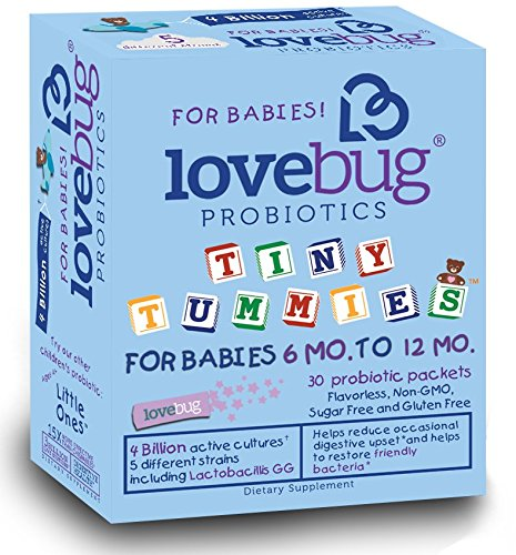 LoveBug Tiny Tummies Probiotics, 30 Packets, Infant and Baby Probiotic Supplements for Babies 6-12 Months, Flavorless Powder for Digestive Health & Immune Support - Helps Reduce Crying