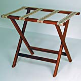 Wooden Mallet Deluxe Straight Leg Luggage Rack, Mahogany, Brown Straps