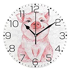 TRSMXYW Wall Clocks for Living Room Cute Funny Pig Animal Silent Frameless Non Ticking Chic Desk Round for Home Bedroom Kitchen Office Decor Beautiful and Durable Best Gift