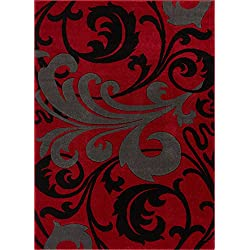 "Melanie Floral Red & Grey Modern Geometric Comfy Casual Fleur-de-Lis Hand Carved Area Rug 8x10 8x11 ( 7'10"" x 9'10"" ) Easy to Clean Stain Resistant Contemporary Thick Soft Plush Living Dining Room"