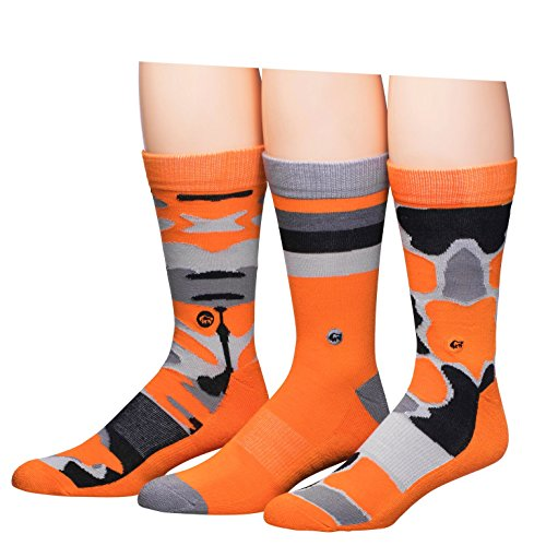 Buffalo David Bitton Men's Crew Socks, Orange Camo, 10-13/6-12 (Pack of - Orange Buffalo