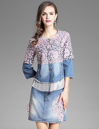 Blusa Microelástico Casual Estilo Azul Para Mujer Tejido Cuello Floral Vaquero Con diario Xuanku Bordado Ewus Redondo 6q5fw44