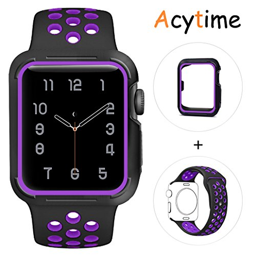 For Apple Watch Band, Acytime Durable Soft Silicone Replacement iWatch Band Sport Style Wrist Strap for Apple Watch Band Series 3 Series 2 Series 1 (Black Purple, 38mm S/M) (Series Purple)