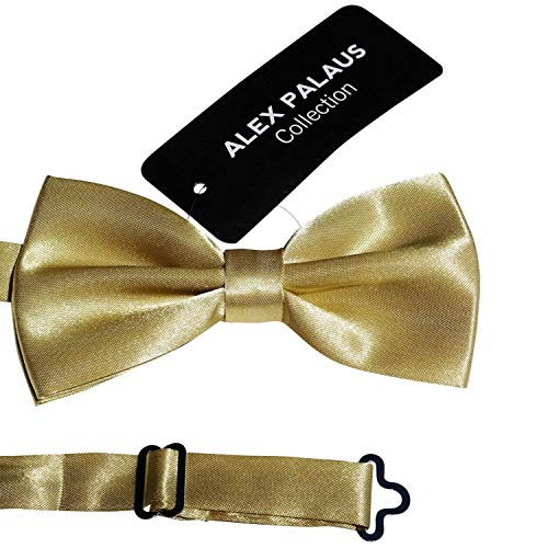 Stylish Designer Bow Ties - Pre Tied, Adjustable Unisex Bowtie for Men, Women, Boys and Girls by Alex Palaus Collection (TM) (Golden)