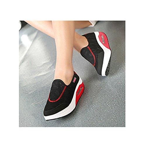 Scarpe Di Tela Moda Slip-on Con Fondo Spesso Pendio Da Allenamento Leggere Scarpe Da Fitness Leggere Di Btrada Nero