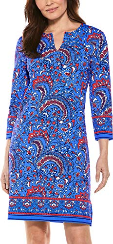 Coolibar UPF 50+ Women's Oceanside Tunic Dress - Sun Protective (X-Large- Red/Blue Wildflower Meadow)