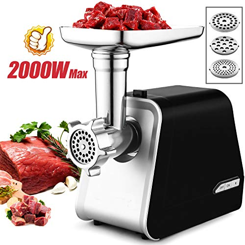 Electric Meat Grinder, Meat Mincer with 3 Grinding Plates and Sausage Stuffing Tubes for Home Use &Commercial, Stainless Steel/Silver/1500W
