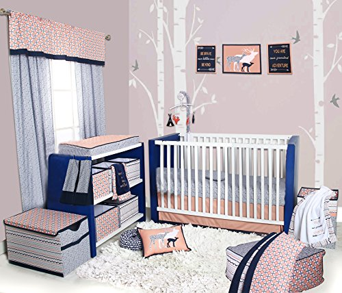 Bacati Olivia Tribal 10 Piece Nursery-in-a-Bag Cotton Percale Girls Crib Bedding Set, Coral/Navy