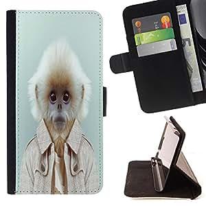 King Art - Premium-PU-Leder-Prima caja de la PU billetera de cuero con ranuras para tarjetas, efectivo Compartimiento desmontable y correa para la mu?eca FOR Samsung Galaxy S4 Mini i9190 I9192- Monkey Patter