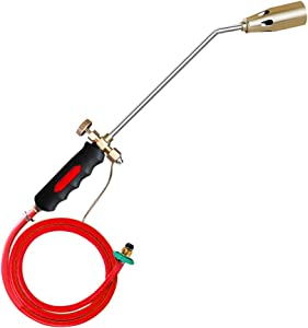 FASTTOBUY Propane Torch Weed Burner Torch, Double Valve Blow Torch with 50 inch Hose Adjustable Flame Control for Light Welding, Soldering, Brazing, Heating, Thawing & Weeding & BBQ