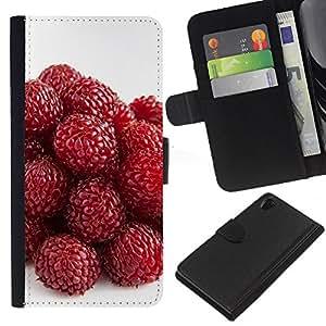 All Phone Most Case / Oferta Especial Cáscara Funda de cuero Monedero Cubierta de proteccion Caso / Wallet Case for Sony Xperia Z2 D6502 // Strawberry
