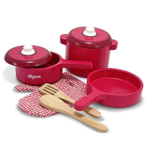 Melissa & Doug Personalized Deluxe Wooden Pots & Pans Kitchen Accessory Set (8 Piece) (Pots Personalized)
