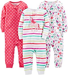 Baby and Toddler Girls 3-Pack Snug Fit Footless Cotton Pajamas