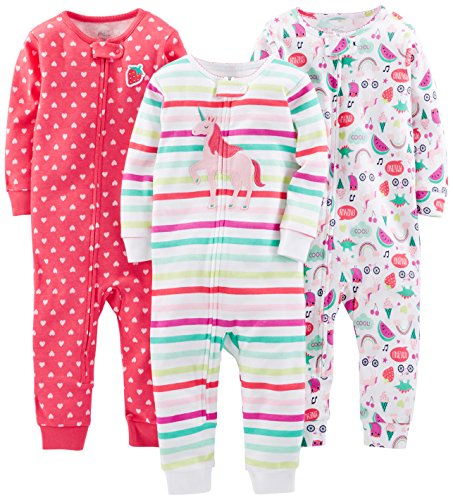 Simple Joys by Carter's Baby Girls' 3-Pack Snug Fit Footless Cotton Pajamas, Rainbow,Strawberry,Multistripe Unicorn, 24 Months