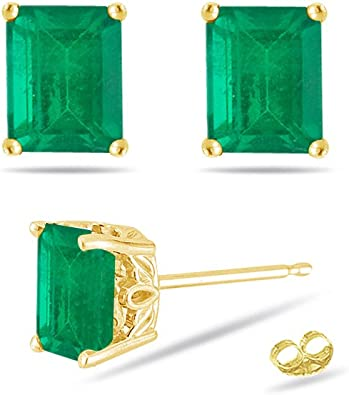 18k Solid Yellow Gold Round STUD EARRINGS Ear Studs Natural Emerald Gemstone Jewelry Fine Gold Jewellery