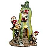 Design Toscano Garden Gnome Statue – Gnome Garden Gourd Homestead Statue – Gnome House – Fairy Garden – Birdhouse