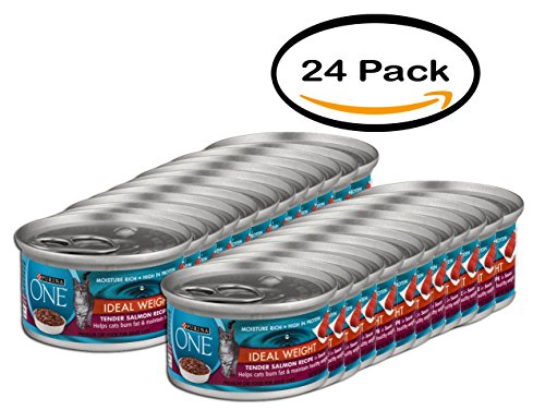PACK OF 24 - Purina ONE Ideal Weight Premium Cat Food Tender Salmon Recipe, 3.0 OZ by Purina ONE