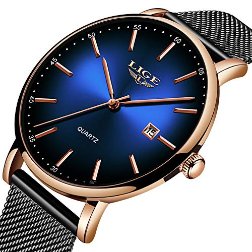 LIGE Mens Watch Fashion Simple Waterproof Sport Watch Business Dress Analog Quartz Watch Black Stainless Steel Mesh Wristwatch Black Blue