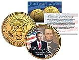 BARACK OBAMA w/Lincoln *Inauguration* 2009 JFK Half Dollar Coin 24K Gold Plated