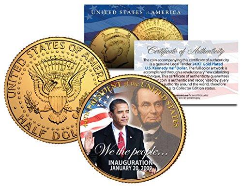 BARACK OBAMA w/Lincoln *Inauguration* 2009 JFK Half Dollar Coin 24K Gold ()