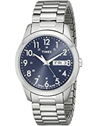 Timex Mens T2M933 South Street Sport Blue/Silver-Tone Stainless Steel Expansion Band Watch