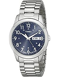 Timex Men's T2M933 Elevated Classics Silver-Tone Dress Watch with Stainless Steel Expansion Band
