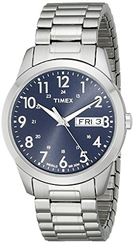 (Timex Men's T2M933 South Street Sport Blue/Silver-Tone Stainless Steel Expansion Band Watch)