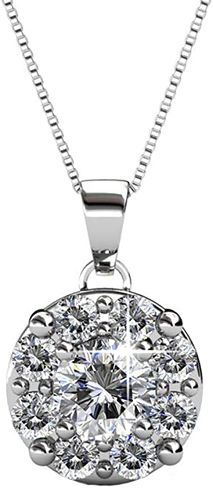 Sparkling Teardrop and Pave Ball Bail Charm Necklace