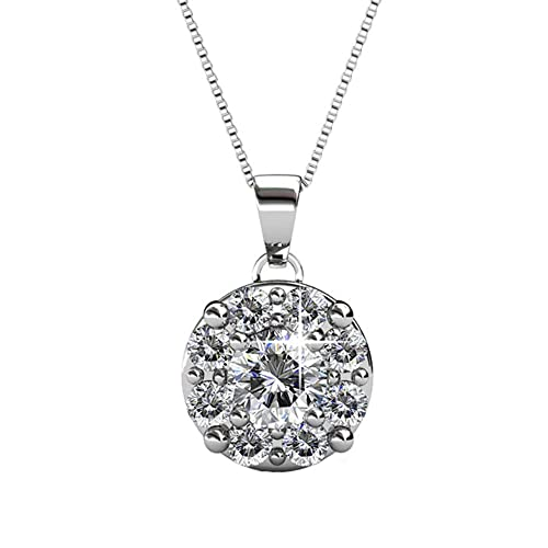 0ac4e81613cf3 Pop Fashion 18K White Gold Plated Swarovski Crystal Pendant Necklace, Round  Cut Center Stone Halo Simulated Diamond Necklace,Wedding Anniversary ...
