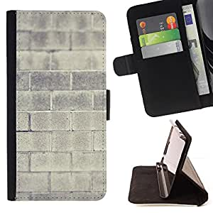 DEVIL CASE - FOR HTC One M8 - Brick Wall Grey Architecture Building House - Style PU Leather Case Wallet Flip Stand Flap Closure Cover