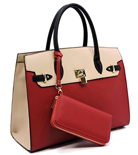 Deluxity Large Padlock Accent Structured Business Satchel +Wallet- Red/Beige