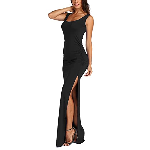 Women Tunic Tops Dresses Lady Solid Split Pleated Sleeveless Evening Party Prom Long Maxi Dress (