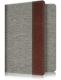 Passport Holder Travel Wallet RFID Blocking Fabric Card Case Cover, Denim Grey