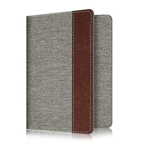 (Fintie Passport Holder Travel Wallet RFID Blocking Fabric Card Case Cover, Denim Grey)