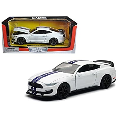 2016 Ford Shelby Mustang GT350R White with Blue Stripes 1/24 Diecast Model Car by New Ray SS-71833W