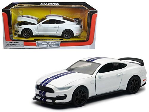 2016 Ford Shelby Mustang GT350R White with Blue Stripes 1/24 Diecast Model Car by New Ray SS-71833W by New Ray
