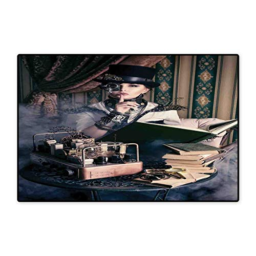 Gothic Door Mats for Home Portrait of Steampunk Woman with Medieval Vintage Outfit Historic Fashion Art Photo Bath Mat for Bathroom Mat 16