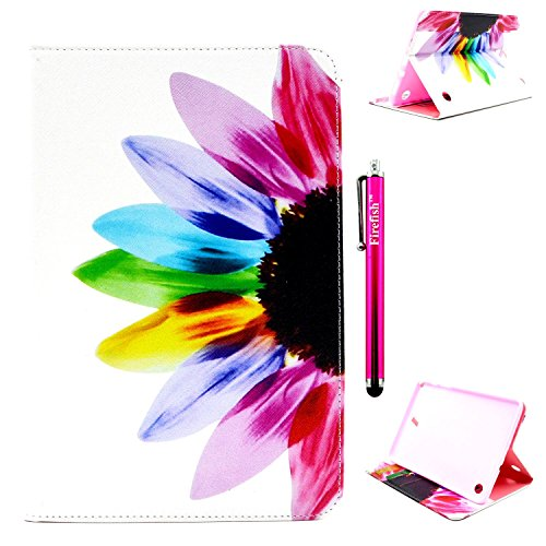 Galaxy Tab A 8.0 Case, Firefish Damage Resistance Case Premium PU Leather Wallet Card Slots Kickstand Feature Case for Samsung Galaxy Tab A 8.0 inch Tablet SM-T350 - Color Flower (Ysl Rouge Pur Couture 12 compare prices)
