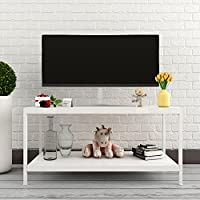 Lifewit Deluxe Rectangular Modern Style Living Room Coffee Table, Cocktail Table, TV Media Stand, White