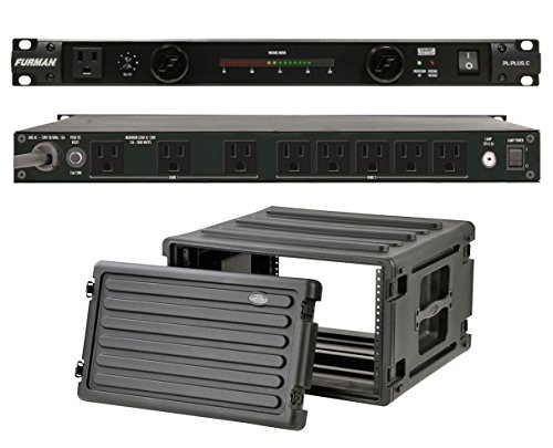 Furman PL-Plus C 15 Amp Power Conditioner + SKB 1SKB-R6U Roto Molded 6U Rack by Furman