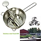 Stainless Steel Food Mill Mouli Ricer with 3 Milling Discs,Dishwasher Safe