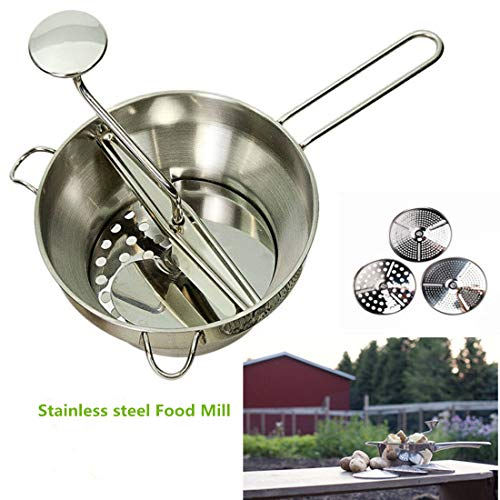 Stainless Steel Food Mill Mouli Ricer with 3 Milling Discs,Dishwasher Safe ()