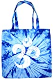 WHITE DISTRESSED OM Tie Dye Tote Bag, Baby Blue Spider