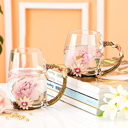 Glass Mug Set [2-Pack], TIANG 11oz Lead-Free Handmade Enamel Pink Flower Tea Cups with Handle, Unique Personalized Birthday Present Ideas for Women Mother Grandma Teachers Coffee by TIANG (Image #4)