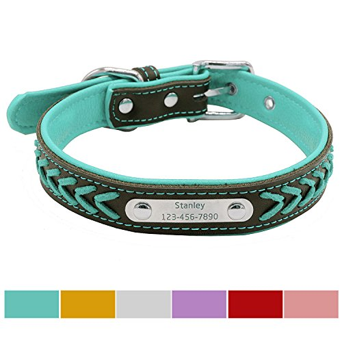 Vcalabashor™ Custom Leather Dog Collar / Braided Genuine Leather Name Plated Dog Collars for Small Medium Large / Personalized Engraved On Collar Pet ID Tags / Blue & Black / XS S M L