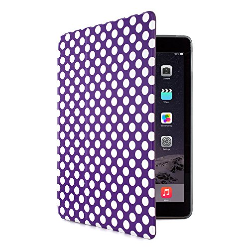 Proporta® Branded Ipad Air 2 Case Caver Ipad Air 2 Case With Duo Stand Function, Textured Design Finish Luxury Branded Cover For Ipad Air 2 / Protective Clear Back Case With Sleep And Wake Function Super Slim Case For Apple Ipad Air 2 - Purple Polka