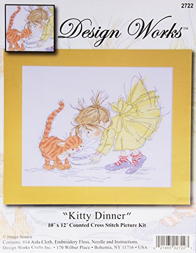 (Tobin 14 Count Kitty Dinner Counted Cross Stitch Kit, 10 by 12-Inch )