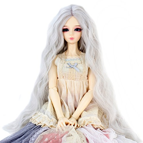 Long Kinky Curly 9-10inch 1/3 BJD MSD DOD Dollfie Doll Hair Wig Centre Parting Hair Accessories Not for Human (Silver Grey)